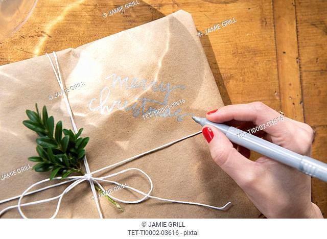 Hand of woman writing on Christmas present