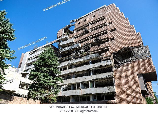 Governmental building of Yugoslav Ministry of Defence at Nemanjina St, Belgrade, Serbia, destroyed in 1999 during NATO bombing