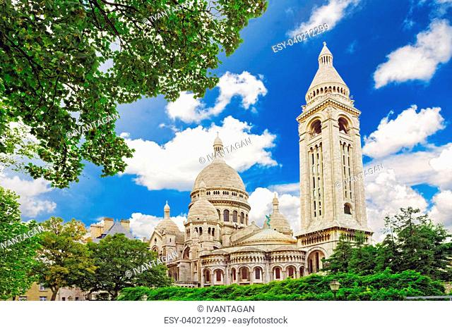 Sacre Coeur Cathedral on Montmartre , Paris, France