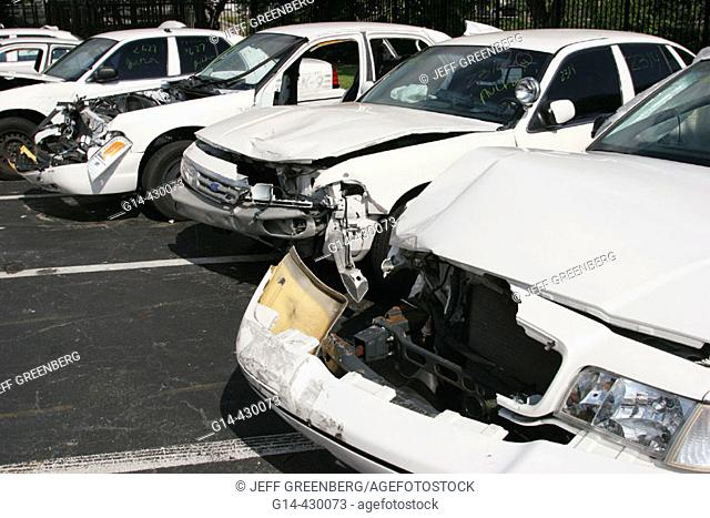 City auction, damaged vehicles in Miami Beach Convention Center. Florida, USA