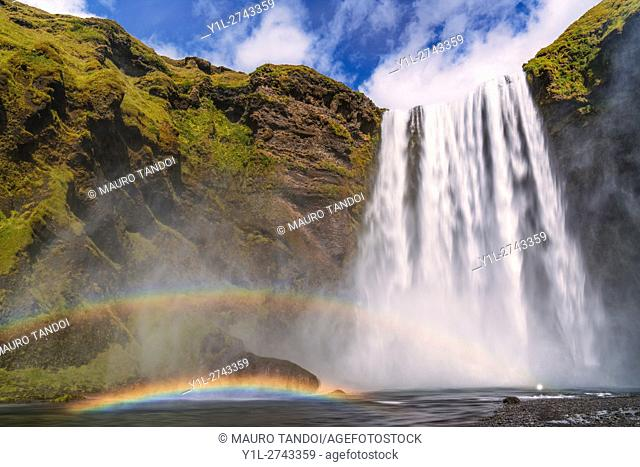 Two rainbows over Skogafoss Waterfall, Iceland