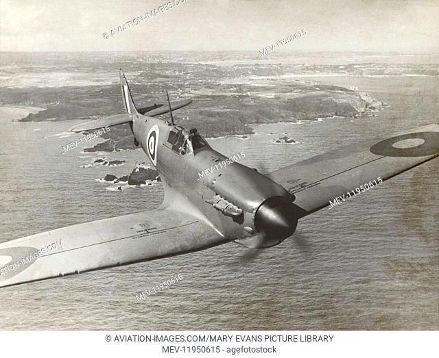 Royal Air Force RAF Supermarine Spitfire 1 Flying on Patrol over Coast