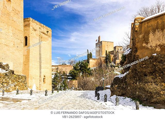 Snowcapped view of Alhambra palace. Granada, Spain