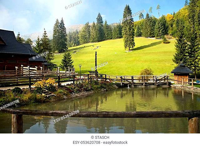 Ruzomberok - Cutkovska Valley: A small pond in the middle in the area of entrance to Cutkovska valley. Tourist center, original traditions, relaxation place
