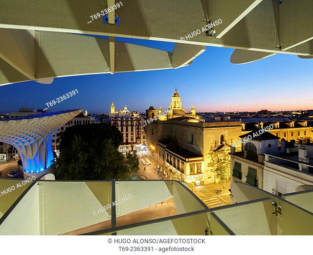 Night view of Seville from the Metropol. Seville. Spain