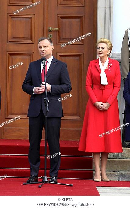 May 2nd , 2018 Castle Square in Warsaw, Poland. Polish National Flag Day and Polish Diaspora and Poles Abroad Day. In the Picture: the First Lady Agata...