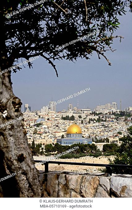Israel, Jerusalem, the Mount of Olives, cityscape, old town, Dome of the Rock, city wall, religion