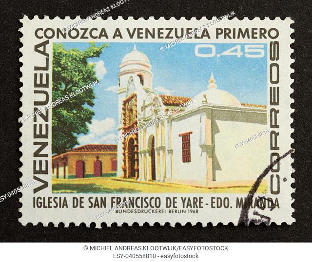 VENEZUELA - 1968: Stamp printed in the Venezuela shows a local building, 1968
