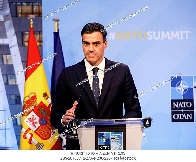 July 12, 2018 - Brussels, Belgium - Prime Minister of Spain, Pedro Sanchez gives a closing press conference during 2018 summit in NATO's headquarters in...