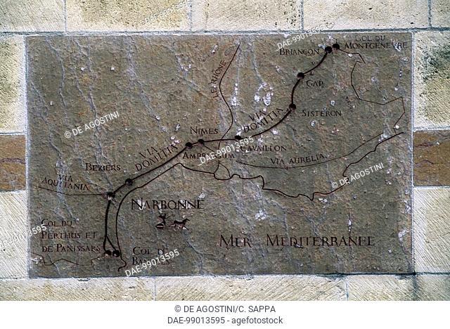 Relief showing the Roman road Via Domitia's route, Place de l'Hotel de Ville, Narbonne, Languedoc-Roussillon, France