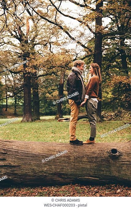 Young couple in love holding hands on a tree trunk in an autumnal park