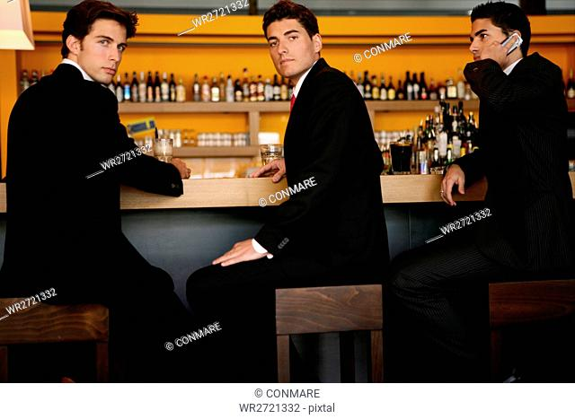 business people, sitting, looking, bar, young, bus