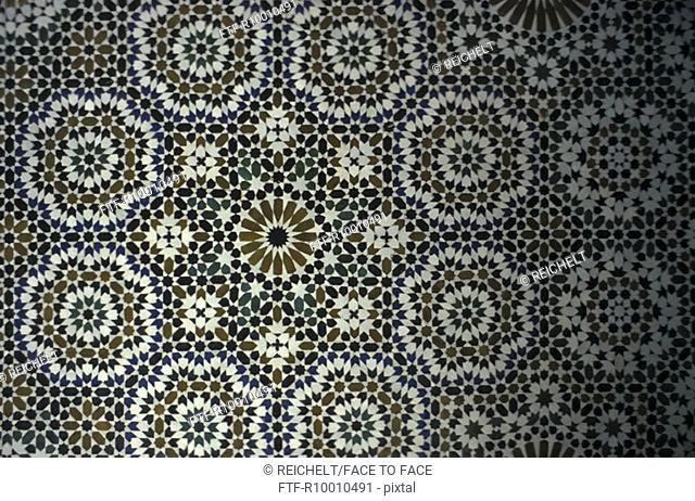 Mosaic ornaments in a koran school, Meknes, Marocco