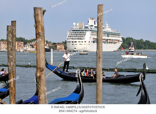Gondolas and cruise ship, Venice, Veneto, Italy