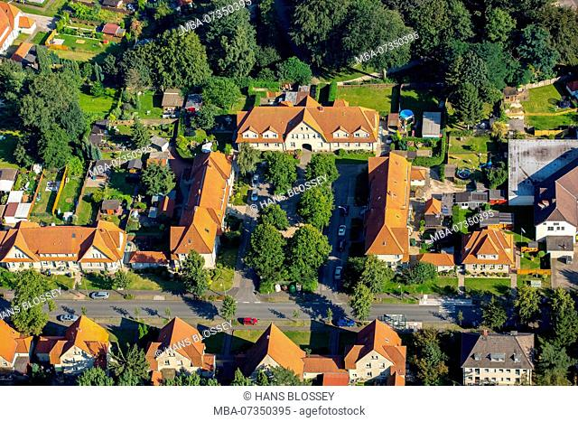 historic colliery settlement, colliery houses, Bottrop-Welheim Gartenstadt Welheim, Bottrop, Ruhr area, North Rhine-Westphalia, Germany