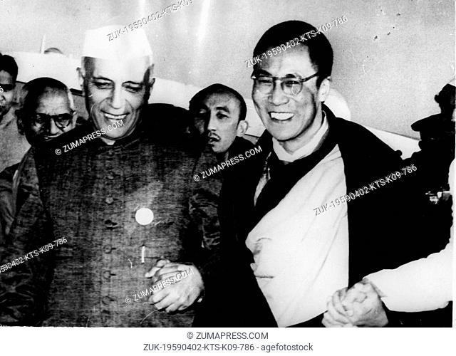 Apr. 2, 1959 - New Delhi, India - Tibetan spiritual leader TENZIN GYATSO is the 14th and current DALAI LAMA. PICTURED: The Dalai Lama arriving in New Delhi and...
