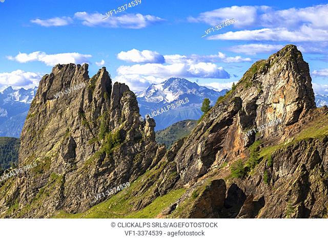 Mount Disgrazia between two rocky peaks. Valgerola, Orobie Alps, Valtellina, Lombardy, Italy, Europe