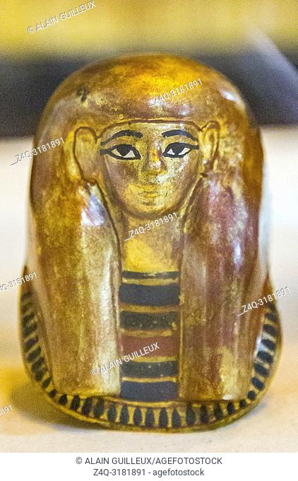 Egypt, Cairo, Egyptian Museum, from the tomb of Yuya and Thuya in Luxor : Small plastered gilded mask, which was inside a canopic vase of Thuya