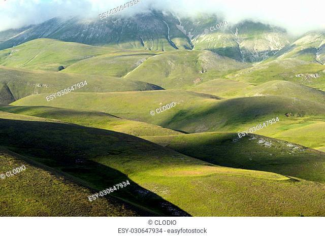 Piano Grande di Castelluccio (Perugia, Umbria, Italy), famous plateau in the natural park of Monti Sibillini
