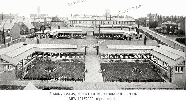 Veranda wards at Princess Mary's Hospital, Margate. The hospital was run by the Metropolitan Asylums Board and treated children with tuberculosis which had...
