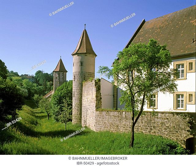 Sesslach district of Upper Frankonia Bavaria Germany city wall near the castle