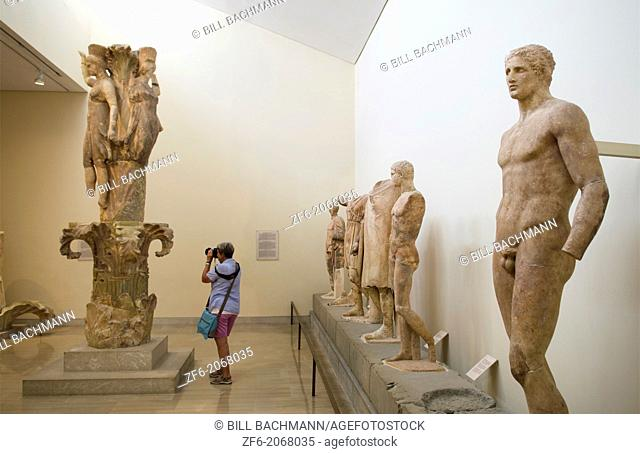 Greece Delphi famous Museum of Delphi with old Egyptian statues in 500 BC artifacts