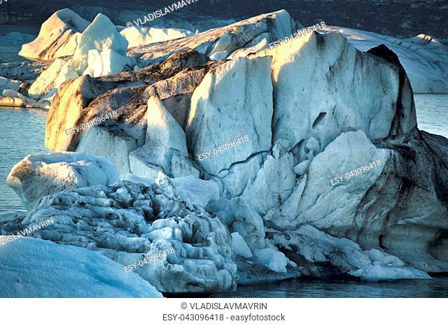 Jokulsarlon Iceland Ice close-up on sunset. Ice geology and cracks