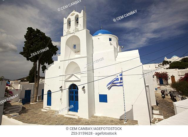 View to the Panagia Kochi Church in Artemonas village, Sifnos Island, Cyclades Islands, Greek Islands, Greece, Europe