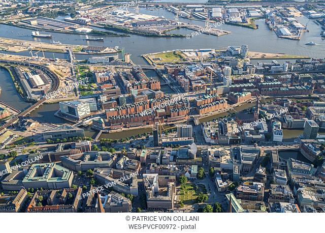 Germany, Hamburg, aerial view of Speicherstadt