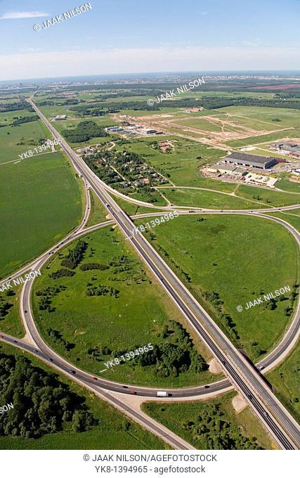 Traffic Circle near Jüri, Harju County, Estonia, Europe