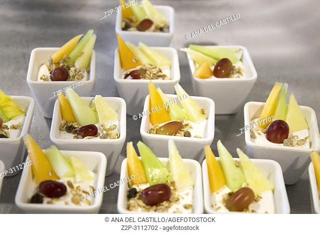 Pudding and fruit in dessert buffet