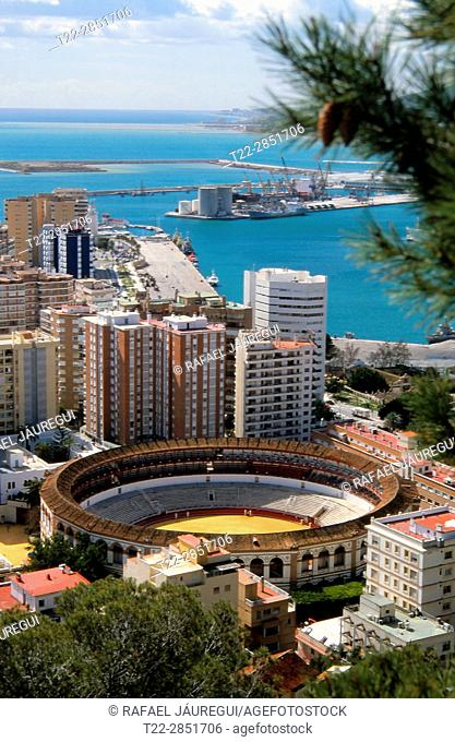 Malaga (Spain). Bullring of the city of Malaga from Gibralfaro