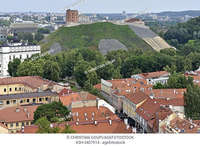colline et Tour de Gediminas vue depuis le beffroi de l'eglise Saint-Jean-Baptiste-et-Saint-Jean-l'Evangeliste, Vilnius, Lituanie