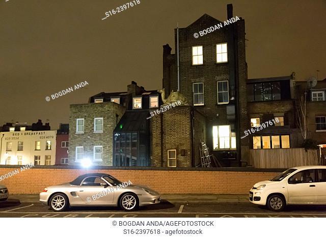 London, UK, Borough of Lambeth - back street at night