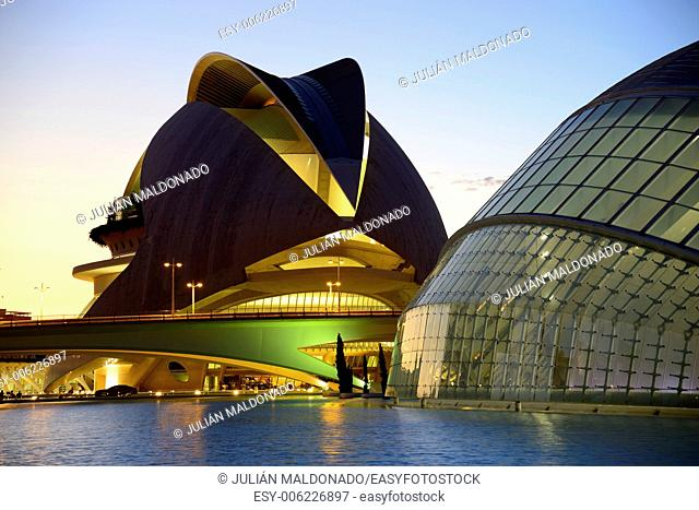 Hemispheric and Palace of Arts Reina Sofia. City of Arts and Sciences in Valencia, Spain