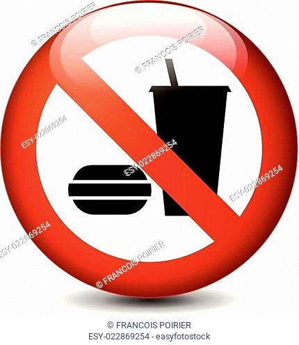 no eating and drinking round sign