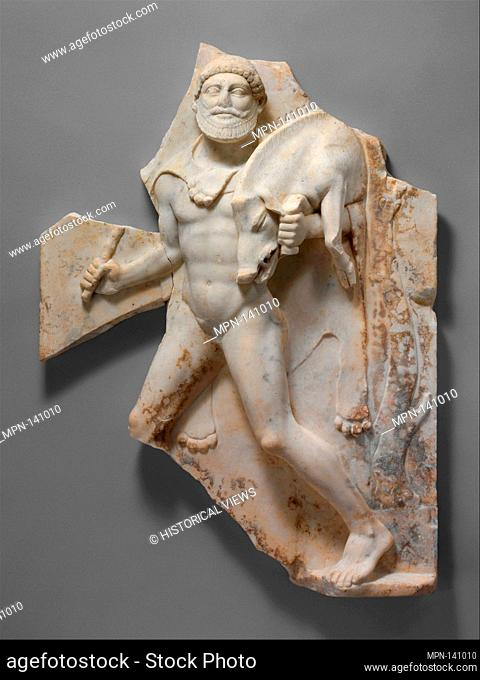 Marble relief with Herakles carrying the Erymanthian Boar. Period: Augustan or Julio-Claudian; Date: 27 B.C.-A.D. 68; Culture: Roman; Medium: Marble;...