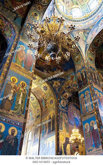 Russia, Saint Petersburg, Center, Church of the Saviour of Spilled Blood, interior glass mosaics