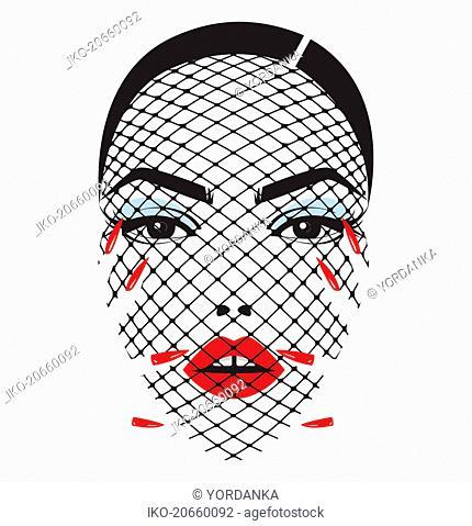 Beautiful woman's face behind net veil