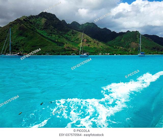 View of Moorea from the lagoon, French Polynesia