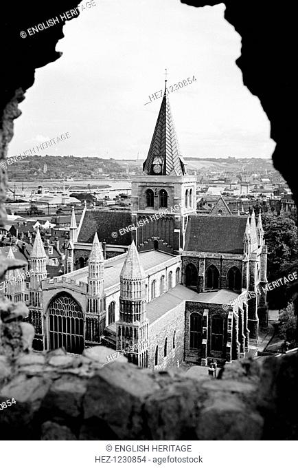 Rochester Cathedral, Rochester, Kent, c1945-c1965. As seen from the castle looking north-east. The Norman cathedral was altered later in the Middle Ages and...
