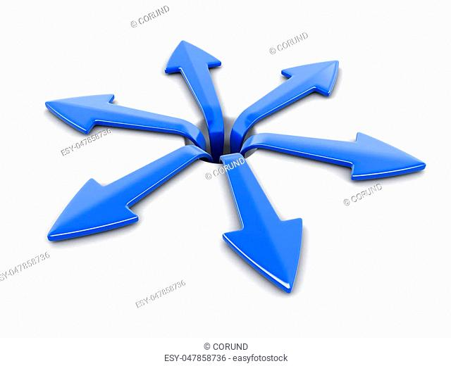 3d image of arrows in different directions. Image with clipping path