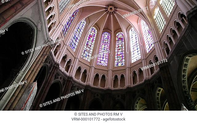 Interior, LA, PAN, Rotating Shot, Ceiling shot directly from below, view of the Chartres Cathedral's Apse Ceiling. Seen are the stained-glass, lancet-shaped