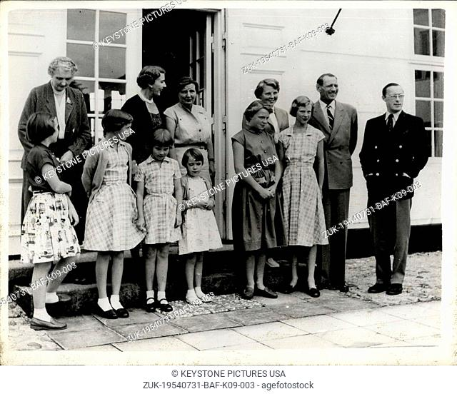 Jul. 31, 1954 - Dutch Royal Family Visit Danish Royal Family - Queen Juliana and Prince Bernhard of the Netherlands, with their four daughters