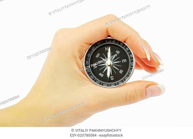 Compass in a hand