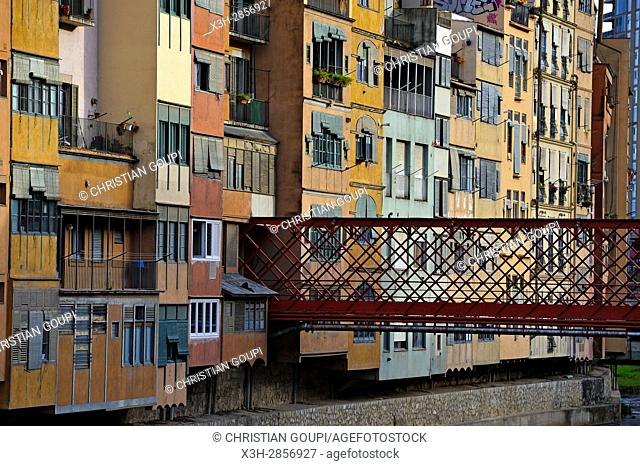 front of the houses by the Onyar River, Girona, Catalonia, Spain, Europe