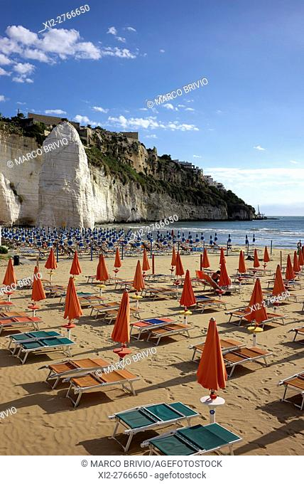 The beach 'Pizzomunno' of Vieste. Vieste is a town, comune and former Catholic bishopric in the province of Foggia, in the Apulia region of southeast Italy