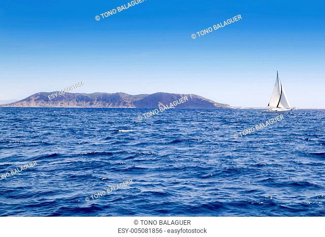 Els Freus of Ibiza view from Mediterranean sea