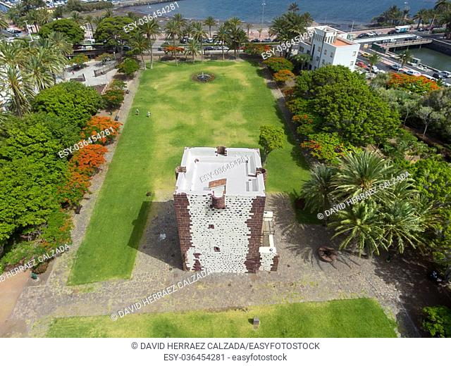 Aerial view torre del conde, ancient fortress in La Gomera island, Canary island, Spain