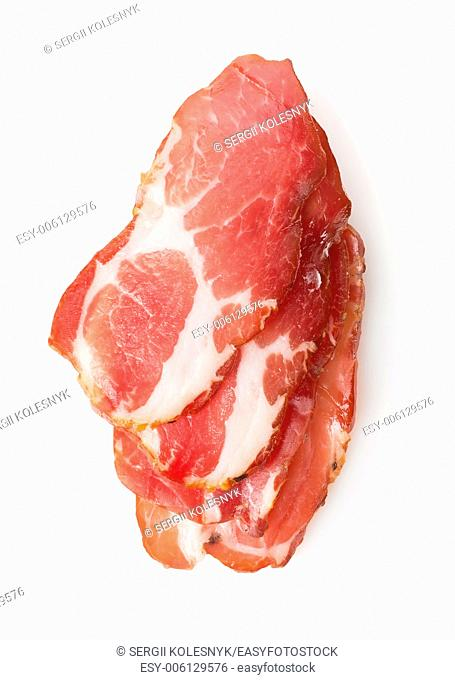 Sliced bacon isolated on a white background
